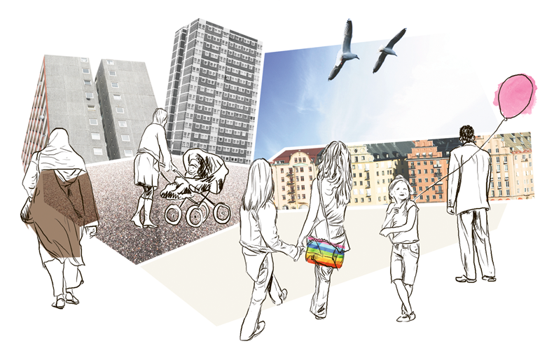 Illustration över stad och människor
