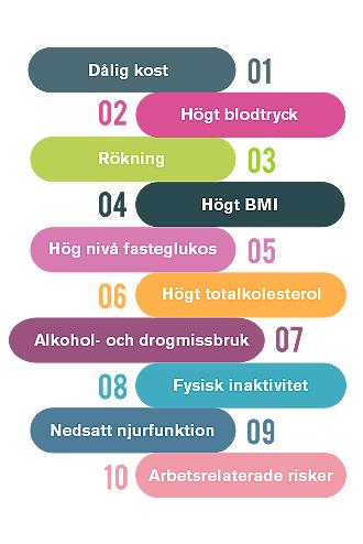 Diagram över de tio främsta riskfaktorerna kombinerat för förtida död och funktionsnedsättning